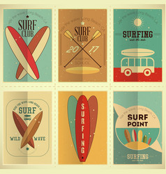Surfing posters set vector