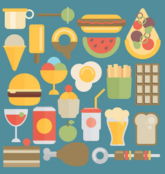 Flat food set vector