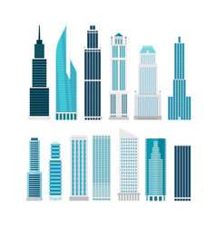 Different skyscrapers isolated on white clip-art vector