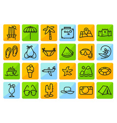 summer beach icons set in line thin and simply vector image