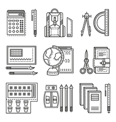 School items flat line icons vector
