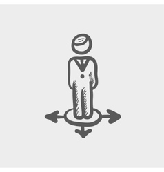 Man in three ways sketch icon vector