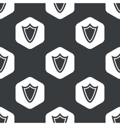 Black hexagon shield pattern vector