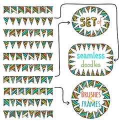Set of seamless bunting brushes and frames from vector