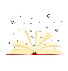 opened book and letters on a white background vector image
