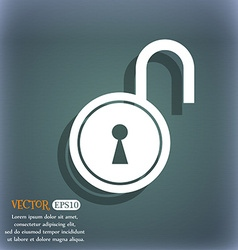 Open lock icon on the blue-green abstract vector