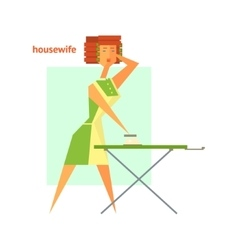 Houswife ironing abstract figure vector