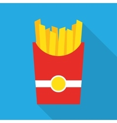 French fries fast food in a red package vector