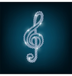 Treble clef with concept diamond vector