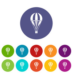 air balloon journey icons set flat vector image