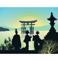 Attractions of japan vector