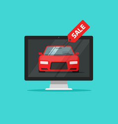 car with sale badge in computer monitor vector image vector image
