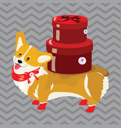 cartoon dog with a christmas present the symbol vector image vector image