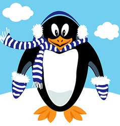 Cartoon penguin winter gear vector