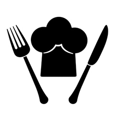 Contour fork and knife with chef hat vector