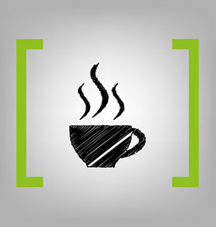 Cup of coffee sign black scribble icon in vector