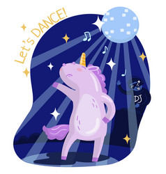 Cute funny unicorn dancing music party lets vector