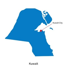 Detailed map of kuwait and capital city kuwait vector