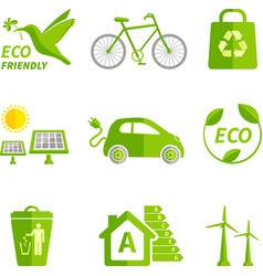 Ecology icons flat vector