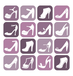 fashion shoes icon set vector image vector image