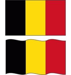 Flat and waving belgian flag vector
