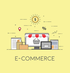Flat design banner of e-commerce for website and vector