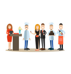 flat icons set of restaurant people and vector image vector image