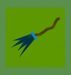 Flat shading style icon witchs broom vector