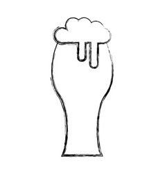 fresh beer in glass isolated icon vector image vector image