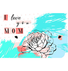 Hand drawn abstract floral collage with i vector