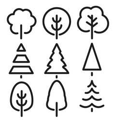 Isolated black and white color trees in lineart vector