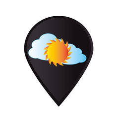 Mark icon pointer gps with cloud and sun vector