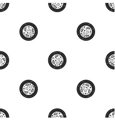 pizza with sausage tomatoes and olives pattern vector image