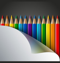 Rainbow colored pencils and realistic white paper vector image