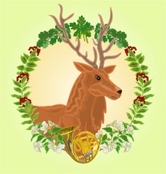 Reindeer head leaves and french horn vector