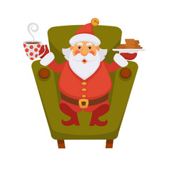 Santa drinking tea and cookie daily christmas life vector