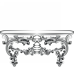 Table furniture with detailed ornaments vector