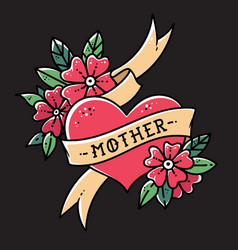 Tattoo heart with ribbon flowers and word mother vector