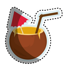 Tropical cocktail isolated icon vector
