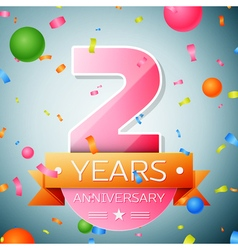 Two years anniversary celebration background vector