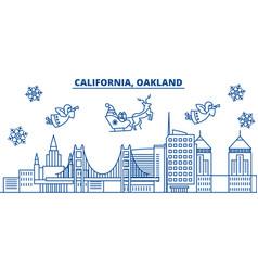 Usa florida oakland winter city skyline merry vector