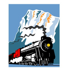 Vintage steam train locomotive retro vector