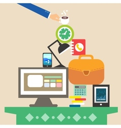 Workplace and business objects for hard work vector