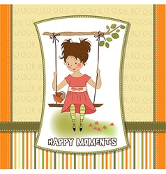 Young girl in a swing vector