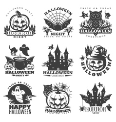 Halloween black white emblems vector