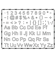 Barb wire letters numbers and signs vector