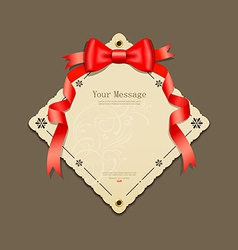 Red ribbons and paper card vector