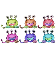 Six three-eyed aliens vector image