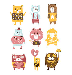 Cute toy bear animals set of childish stylized vector