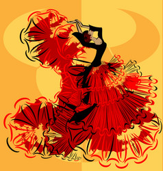 abstract yellow image of flamenco vector image